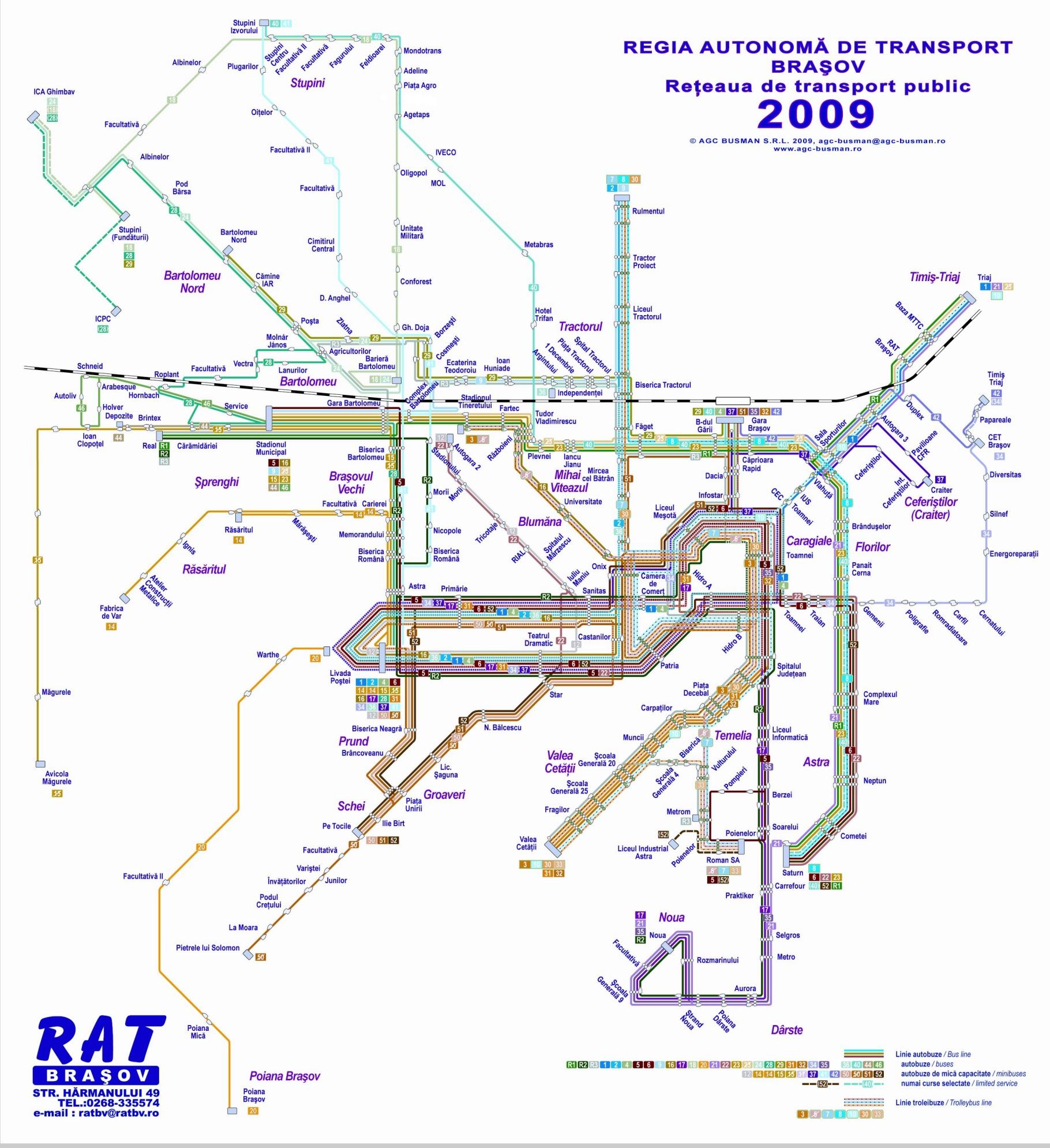 Harta trasee regia de transport Brasov | Harta RATBV