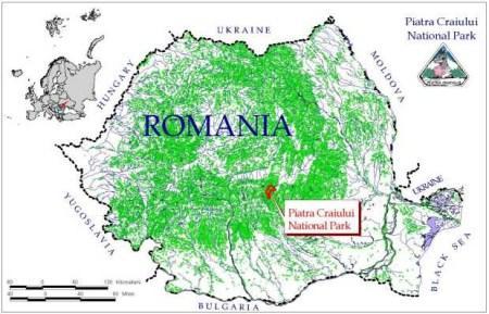 Harta Piatra Craiului localizare Romania